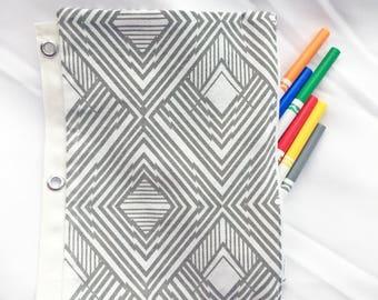 Top Zipper Pencil Marker Makeup Case For Binder