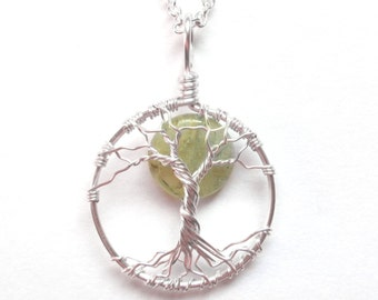 Prehnite Tree of Life Necklace with Pale Green Gemstone, Silver, Protection Necklace