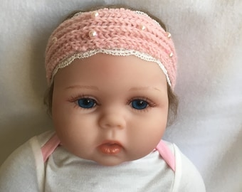 Baby headband lace and pearls to order