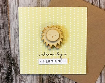 new baby card, dream big, yellow baby card, lion baby, gender neutral card, baby congratulations card, personalised baby card