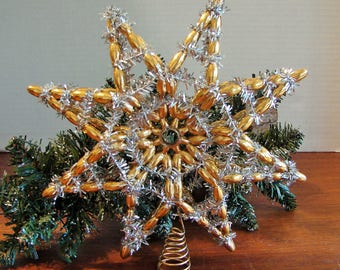 Gold And Silver Star Christmas Tree Topper, Vintage 1960's, Gold Plastic Beads,Silver Foil Garland Wrap,Metal Coil Fastener, Christmas Decor