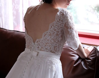 Romantic Boho Modified A-Line Chiffon and Beaded Lace Wedding Dress with Open V-back and 3/4 Sleeves - L'Amei 2017