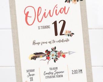 Boho Birthday Invitation, Arrow, Feather Invitation, Bohemian Printable Invitation, Boho, Sweet 16, Teen Birthday, Tween Birthday