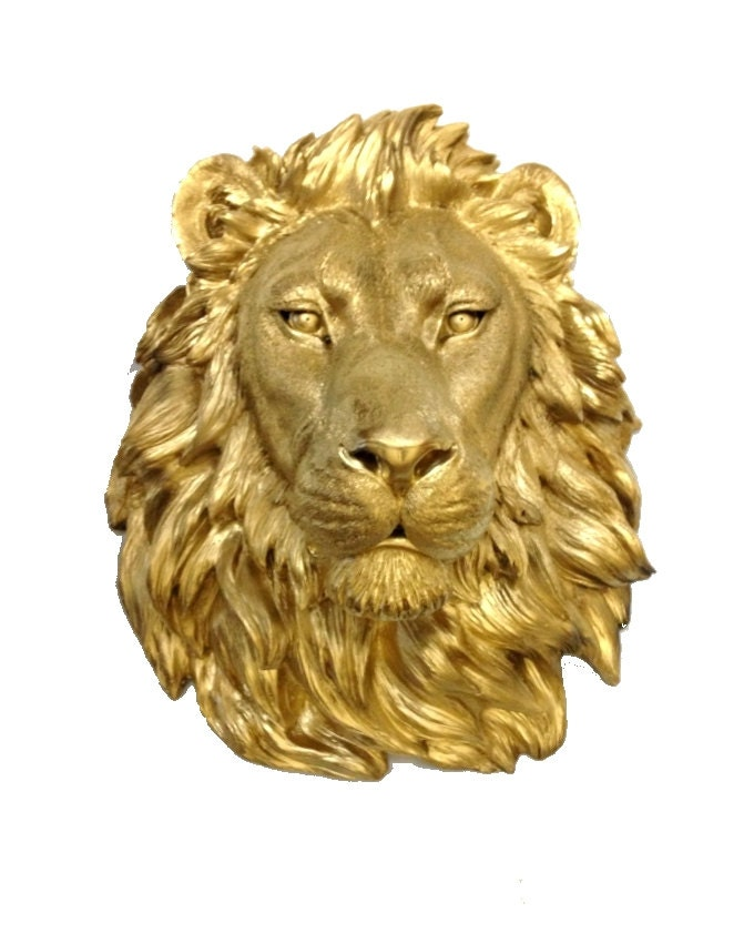 Gold Lion Head Mount Wall Statue. Faux Taxidermy Fake Lion