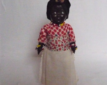 """Vintage Black African Costume Doll Momma and Baby 7"""" 18cms"""