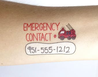 Child Emergency Contact Number, Write-on, Temporary Tattoos