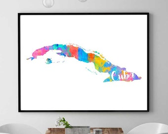 Cuba Map Print, Printable Map Of Cuba, Wall Art Decor, Watercolor Map Print, Cuban Gift, Instant Download