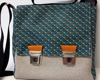 Teal and grey leather satchel bag