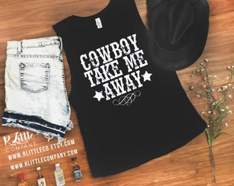 Cowboy Take Me Away Festival Women's Black, Mint, and White Tank - XS-4XL  // Country Concert // Country Festival // Country Music