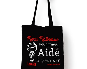 Shopping bag thank you teacher helped grow boy personalized name
