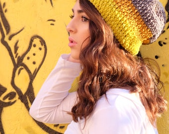 Yellow and Gray Slouchie Beanie
