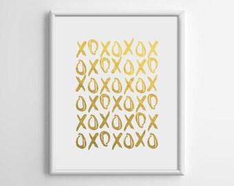 XO, Gold Foil Print, Gold Foil Art, Silver Foil Art, Copper Foil Print, Cafe, Scandinavian, Living Room Wall Art, New Year, 8x10, A4, A038