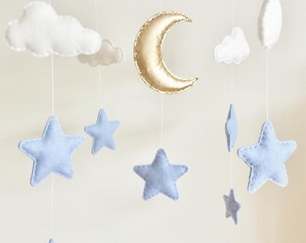 Moon & Stars Cot Mobile, Cloud Moon Stars Baby Mobile, Moon Stars Nursery, Felt Cloud Nursery Mobile, Nursery Decor, Musical Cot Mobile