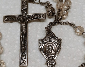 Vintage Sterling Silver & Crystal ROSARY. Hallmarked 2 Initials