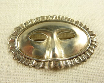 Vintage Sterling Theater Mask Brooch