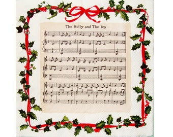 """Set of 3 napkins NOE120 song score """"The Holly and the Ivy"""""""