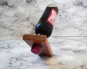 Exotic Wood Self Balancing Wine Holder, Leopard Wood