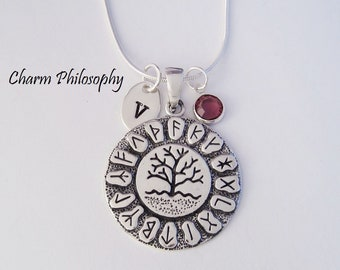 Ancient Rune Necklace - Tree of Life Necklace - 925 Sterling Silver Jewelry - Tree Pendant - Personalized Monogram Initial and Birthstone