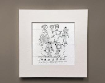 Flower Power, pen & ink, figure drawing