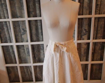 White A-Line 1970's Wrap Skirt