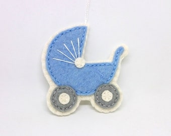 Felt baby carriage ornament