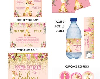 GIRAFFE BIRTHDAY PACKAGE, Girl Giraffe Birthday Invite, Thank You Card, Welcome Sign, Thank you Tags, Water bottle Labels, Cupcake toppers