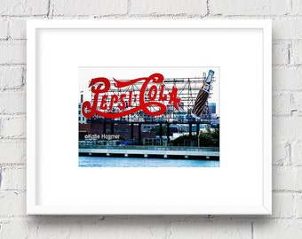 Long Island City, LIC, NYC New York Pepsi Sign: 5x7 Matted Photo