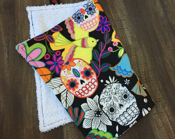 Sweat Rag/Face Cloth in a sugar skull Day of the Dead fabric