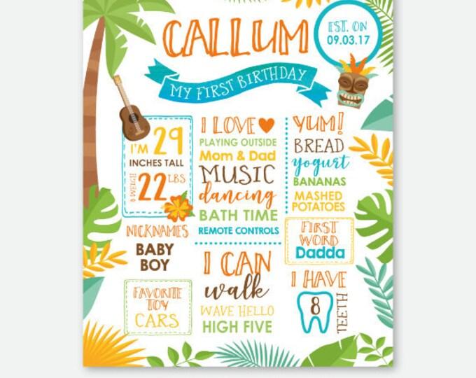 Luau Birthday Board, Hawaiian Party Milestones Sign, Summer Birthday Party, Pool Birthday Party, Personalized Digital Sign