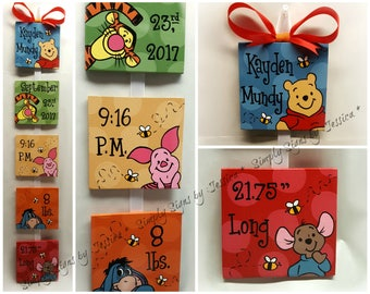 Winnie The Pooh birth announcement for baby nursery or childrens bedroom