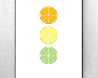 Citrus - Fruit Printable Digital Art Print - Minimalist Wall Decor