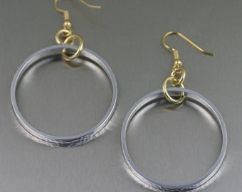 Hammered Aluminum Hoops - Bi-Metal Earrings - Gold & Silver Hoops - 10th Wedding Anniversary Gifts
