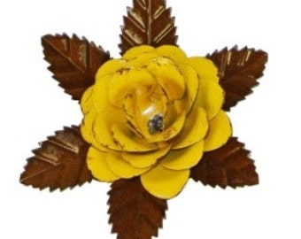 """Rustic metal rose w/ leaves - Yellow approx 5.5"""""""