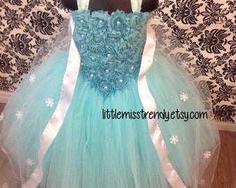 Frozen Inspired Tutu Dress, Aqua Blue Tutu Dress, Tutu Dress with Cape, Aqua Tutu Dress, Queen Elsa Tutu Dress, Over the top Frozen Tutu