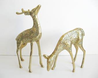 Vintage Pair of Brass Deer Figurines ~ Doe and Buck