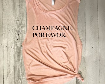 Champagne. Por Favor...Muscle Tee in Millennial Pink Workout Top, Muscle Tank, Graphic Muscle Tee, Gym Tank, Yoga Tank, Yoga Vest, Hot Yoga