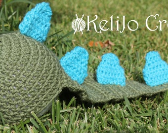 Dinosaur Crochet Hat with Tail, Dino Newborn Hat, Crochet Photo Prop for baby, Dino Cover