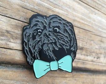 Bow Tie Dog Enamel Pin, Soft Enamel Pin, Brooch, Bow tie Pin, Lapel Pin, Shih tzu Pin, Limited Edition Pin, Gifts for him