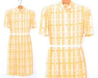 sunny day dress * vintage dress * california girl dress * 80s dress * vintage plaid yellow dress * s / m