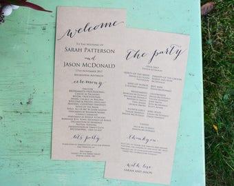 Wedding Ceremony Program Template, Wedding Program Printable, Order of Service Program, Rustic Wedding Program, Instant Download,WLP102