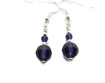 Purple Crystal Earrings, Purple Dangle Earring, Violet Earring, Purple Earring, Purple Plum Drop Earring, Royal Purple Drop, Glass Crystal