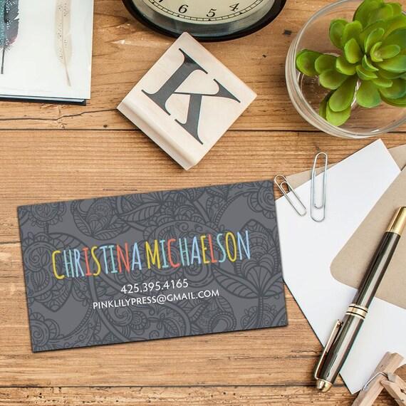 Paisley Rainbow Calling Card/Business Cards, Set of 50 or 100 Business Cards, Personalized Calling Cards, Custom Paisley Fun Business Cards