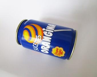 Large vintage Orangina tin, sucettes Orangina tin, advertising collectible, bar decoration, French vintage