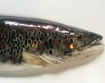 "Brown Trout, RAKU - Ceramic Wall Art - 20"""