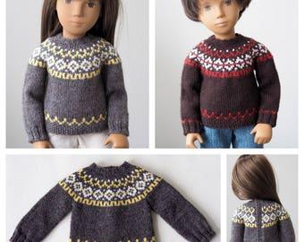 Humber River Icelandic Sweater Knitting Pattern for Sasha Dolls