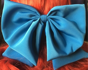 Little Mermaid Kiss the Girl Over-sized Silky Blue Hair Bow
