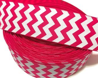 "1.5"" Hot Pink Chevron Ribbon, Pink and white Ribbon, Pink Zigzag Ribbon, Pink Zig zag Ribbon, Pink chevron Grosgrain Ribbon"