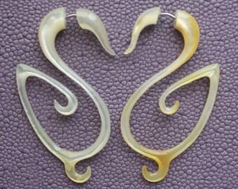 SELA - Fake Gauge Earrings - Hand Carved Mother of Pearl - Tribal Style Earrings