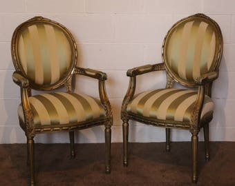 A Pair of C20th Ornate Gilt Armchairs Bedroom Chairs