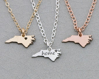 North Carolina Necklace • NC Gold State Cutout • Rose Gold North Carolina Charm Home State Necklace • Custom State Engraving East Coast